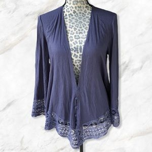 Simply Noelle Periwinkle Lace Button Up Cardigan M